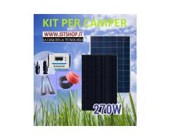 Pannello Fotovoltaico per Camper 270 policristallino kit completo