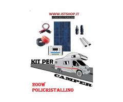 Pannello Fotovoltaici 200W policristallino per camper kit completo