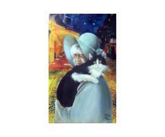 Ritratto da fotografia su commissione pittura su tela nozze battesimo comunione bomboniera